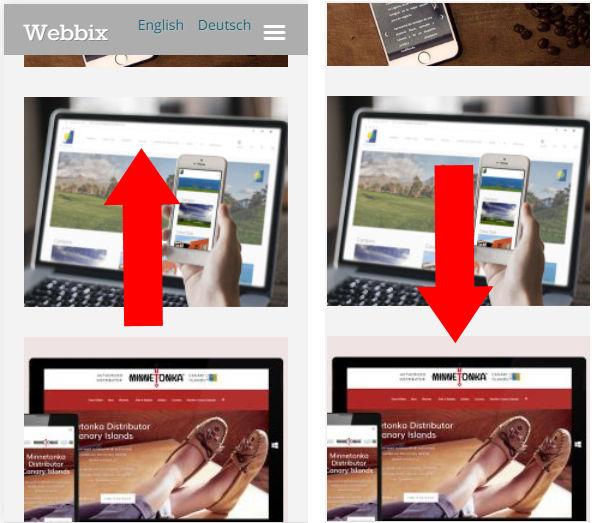ocultar menu al bajar pantalla